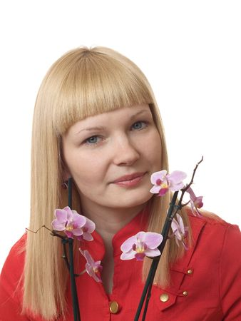Portrait of a young woman with orchid on the white background Stock Photo - 6829846