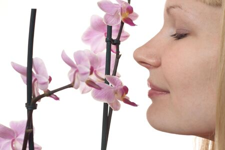 Portrait of a young woman with orchid on the white background Stock Photo - 6829845