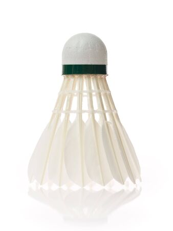 One shuttlecock isolated on the white background photo