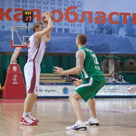 nesterov: SAMARA, RUSSIA - OCTOBER 24: Konstantin Nesterov of BC Krasnye Krylia with the ball attacking BC UNICS October 24, 2010 in Samara, Russia.