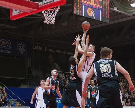 TOLYATTI, RUSSIA - NOVEMBER 16: Konstantin Nesterov of BC Krasnye Krylia with the ball attacks a basket of BC JuveCaserta Basket November 16, 2010 in Tolyatti, Russia.