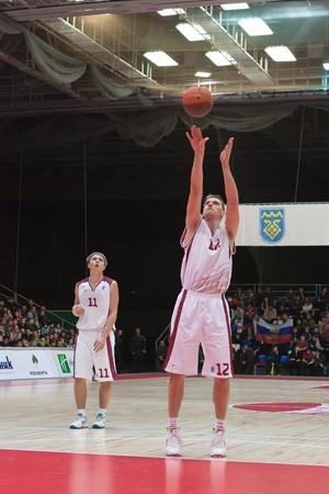 nesterov: TOLYATTI, RUSSIA - NOVEMBER 16: Konstantin Nesterov of BC Krasnye Krylia breaks free throw BC JuveCaserta Basket November 16, 2010 in Tolyatti, Russia.