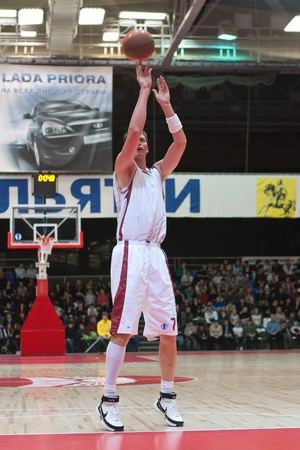 TOLYATTI, RUSSIA - NOVEMBER 16: Primoz Brezec of BC Krasnye Krylia breaks free throw BC JuveCaserta Basket November 16, 2010 in Tolyatti, Russia.