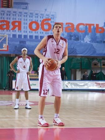 nesterov: SAMARA, RUSSIA - DECEMBER 18: Konstantin Nesterov of BC Krasnye Krylia breaks free throw BC Dynamo December 18, 2010 in Samara, Russia. Editorial