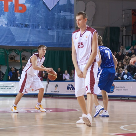 pbl: SAMARA, RUSSIA - DECEMBER 18: Alexander Anisimov of BC Krasnye Krylia with ball attacking BC Dynamo December 18, 2010 in Samara, Russia.