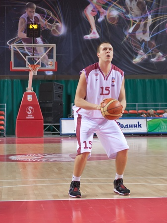pbl: SAMARA, RUSSIA - JANUARY 06: Janar Talts of BC Krasnye Krylia with ball breaks free throw BC Enisey January 06, 2011 in Samara, Russia.