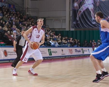 nesterov: SAMARA, RUSSIA - JANUARY 06: Konstantin Nesterov of BC Krasnye Krylia with ball attacking BC Enisey January 06, 2010 in Samara, Russia. Editorial