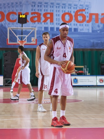 pbl: SAMARA, RUSSIA - JANUARY 06: Brion Rush of BC Krasnye Krylia with ball breaks free throw BC Enisey January 06, 2011 in Samara, Russia.