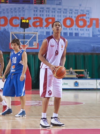 pbl: SAMARA, RUSSIA - JANUARY 06: Gerald Green of BC Krasnye Krylia with ball breaks free throw BC Enisey January 06, 2011 in Samara, Russia.