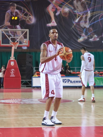 pbl: SAMARA, RUSSIA - JANUARY 22: Brion Rush of BC Krasnye Krylia breaks free throw BC Triumph January 22, 2011 in Samara, Russia.