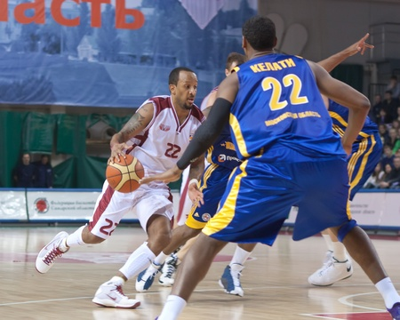 pbl: SAMARA, RUSSIA - FEBRUARY 06: Ernest J.R. Bremer of BC Krasnye Krylia with ball attacks BC Khimki February 06, 2011 in Samara, Russia.