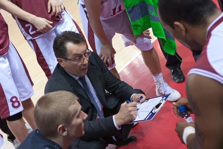 pbl: SAMARA, RUSSIA - FEBRUARY 12: Coach of BC Krasnye Krylia Stanislav Eremin says the game plan on February 12, 2011 in Samara, Russia.