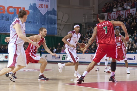 pbl: SAMARA, RUSSIA - FEBRUARY 12: Brion Rush of BC Krasnye Krylia with ball attacks BC Lokomotiv-Kuban February 12, 2011 in Samara, Russia.