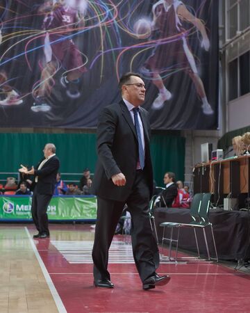 pbl: SAMARA, RUSSIA - FEBRUARY 25: Coach of BC Krasnye Krylia Stanislav Eremin on the game against BC Spartak February 25, 2011 in Samara, Russia.