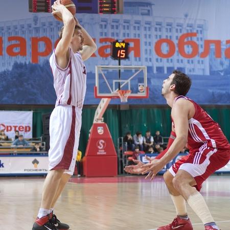 nesterov: SAMARA, RUSSIA - FEBRUARY 25: Konstantin Nesterov of BC Krasnye Krylia with ball attacks BC Spartak February 25, 2011 in Samara, Russia. Editorial