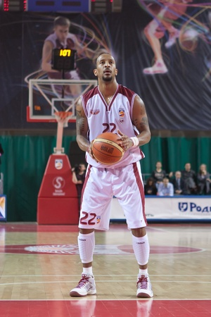 pbl: SAMARA, RUSSIA - MARCH 12: Ernest J.R. Bremer of BC Krasnye Krylia breaks free throw BC Nizhniy Novgorod March 12, 2011 in Samara, Russia.