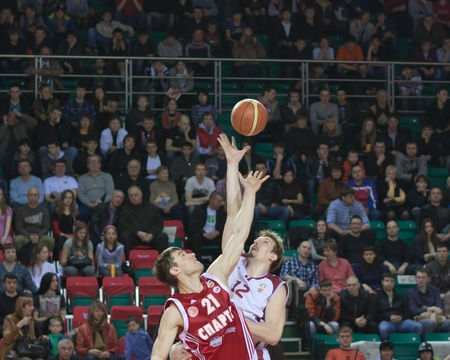 nesterov: SAMARA, RUSSIA - APRIL 23: Konstantin Nesterov win dropping the ball at the player BC Spartak St.-Petersburg April 23, 2011 in Samara, Russia.