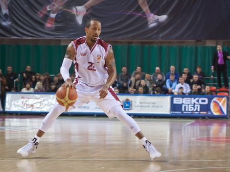 pbl: SAMARA, RUSSIA - APRIL 23: Ernest J.R. Bremer of BC Krasnye Krylia with ball attacks BC Spartak St.-Petersburg April 23, 2011 in Samara, Russia.