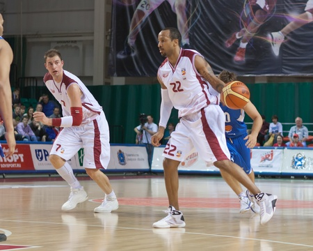 pbl: SAMARA, RUSSIA - MAY 11: Ernest J.R. Bremer of BC Krasnye Krylia with ball attacks BC Enisey May 11, 2011 in Samara, Russia. Editorial
