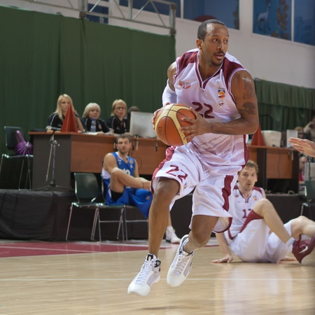 nesterov: SAMARA, RUSSIA - MAY 11: Ernest J.R. Bremer of BC Krasnye Krylia, with ball, is on the attack during a BC Enisey game on May 11, 2011 in Samara, Russia.