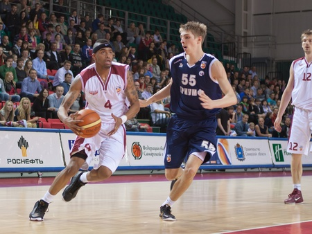 pbl: SAMARA, RUSSIA - MAY 15: Brion Rush of BC Krasnye Krylia, with ball, is on the attack during a BC Triumph game on May 15, 2011 in Samara, Russia.