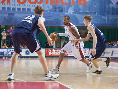 pbl: SAMARA, RUSSIA - MAY 15: Ernest J.R. Bremer of BC Krasnye Krylia, with ball, is on the attack during a BC Triumph game on May 15, 2011 in Samara, Russia.