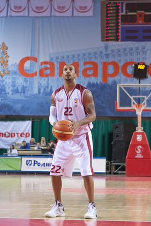 pbl: SAMARA, RUSSIA - MAY 15: Ernest J.R. Bremer of BC Krasnye Krylia gets ready to throw from the free throw line in a game against BC Triumph game on May 15, 2011 in Samara, Russia. Editorial