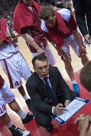 SAMARA, RUSSIA - MAY 26: Coach of BC Krasnye Krylia Stanislav Eremin says the game plan against BC CSKA on May 26, 2011 in Samara, Russia.