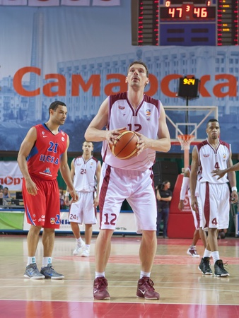nesterov: SAMARA, RUSSIA - MAY 26: Konstantin Nesterov of BC Krasnye Krylia gets ready to throw from the free throw line in a game against BC CSKA on May 26, 2011 in Samara, Russia.
