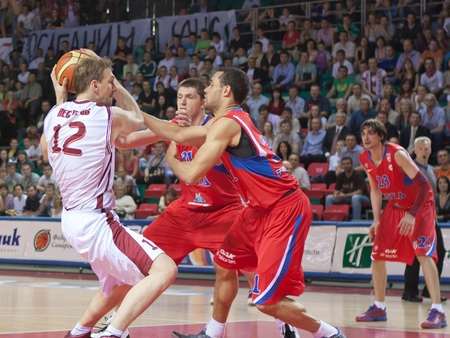 nesterov: SAMARA, RUSSIA - MAY 26: Konstantin Nesterov of BC Krasnye Krylia, with ball, is on the attack during a BC CSKA game on May 26, 2011 in Samara, Russia.