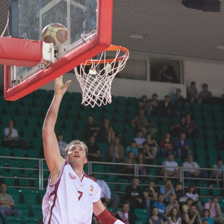 pbl: SAMARA, RUSSIA - JUNE 04: Primoz Brezec of BC Krasnye Krylia scored a goal in a game against BC Enisey on June 04, 2011 in Samara, Russia.