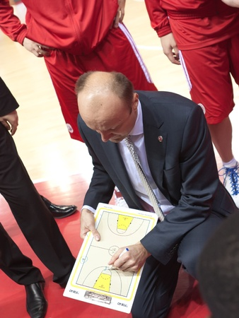 pbl: SAMARA, RUSSIA - NOVEMBER 25: Time out. Coach of BC Spartak Jurij Zdovc says the game plan against BC Krasnye Krylia on November 25, 2011 in Samara, Russia.