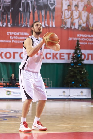 bc vef riga: SAMARA, RUSSIA - DECEMBER 23: Alexander Joseph Anthony of BC Krasnye Krylia throw from the free throw line in a game against BC VEF on December 23, 2011 in Samara, Russia.