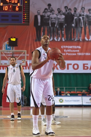 pbl: SAMARA, RUSSIA - NOVEMBER 02: Hayes Jarvis James of BC Krasnye Krylia gets ready to throw from the free throw line in a game against BC Lokomotiv-Kuban on November 02, 2011 in Samara, Russia. Editorial