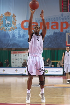 pbl: SAMARA, RUSSIA - NOVEMBER 02: Aaron Marquez Miles of BC Krasnye Krylia throw from the free throw line in a game against BC Lokomotiv-Kuban on November 02, 2011 in Samara, Russia.