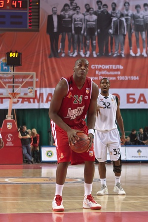 pbl: SAMARA, RUSSIA - NOVEMBER 02: Traore Ali of BC Lokomotiv-Kuban gets ready to throw from the free throw line in a game against BC Krasnye Krylia on November 02, 2011 in Samara, Russia.