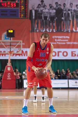 pbl: SAMARA, RUSSIA - NOVEMBER 19: Sokolov Dmitry of BC CSKA gets ready to throw from the free throw line in a game against BC Krasnye Krylia on November 19, 2011 in Samara, Russia.