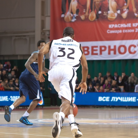 miles aaron marquez: SAMARA, RUSSIA - JANUARY 28: Aaron Marquez Miles of BC Krasnye Krylia, with ball, is on the attack during a BC Triumph game on January 28, 2012 in Samara, Russia.
