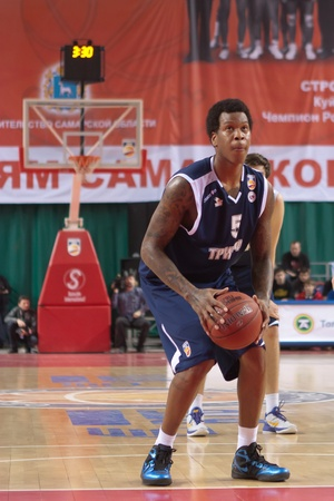 pbl: SAMARA, RUSSIA - JANUARY 28: Davon Jefferson of BC Triumph gets ready to throw from the free throw line in a game against BC Krasnye Krylia on January 28, 2012 in Samara, Russia.