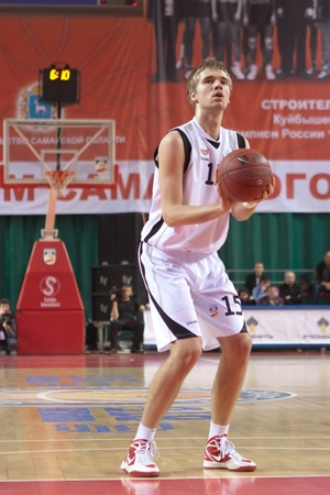 pbl: SAMARA, RUSSIA - FEBRUARY 18: Nikita Balashov of BC Krasnye Krylia gets ready to throw from the free throw line in a game against BC Spartak-Primorye on February 18, 2012 in Samara, Russia.