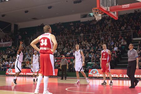 nesterov: SAMARA, RUSSIA - FEBRUARY 18: Aaron Marquez Miles of BC Krasnye Krylia scored a goal from the free throw line in a game against BC Spartak-Primorye on February 18, 2012 in Samara, Russia.