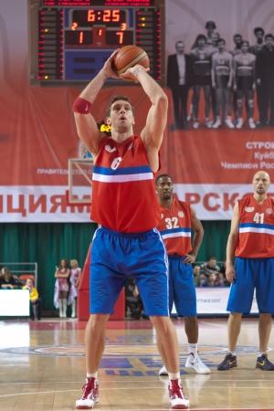 SAMARA, RUSSIA - MARCH 07: Fedor Likholitov of BC Krasnye Krylia throw from the free throw line in a BC Zalgiris game on March 07, 2012 in Samara, Russia.