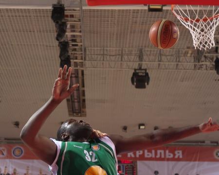 SAMARA, RUSSIA - MARCH 10: Nathan Jawai of BC UNICS throws a ball in a basket during a game against BC Krasnye Krylia on March 10, 2012 in Samara, Russia.