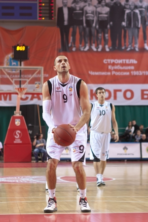 pbl: SAMARA, RUSSIA - APRIL 01: Rolandas Alijevas of BC Krasnye Krylia gets ready to throw from the free throw line in a game against BC Khimki on April 01, 2012 in Samara, Russia.