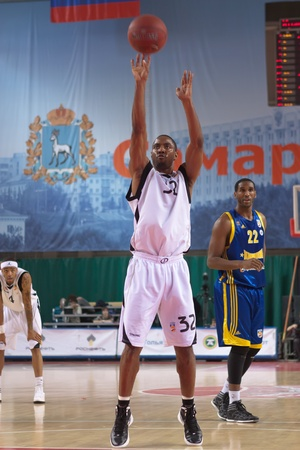 SAMARA, RUSSIA - APRIL 01: Aaron Marquez Miles of BC Krasnye Krylia throw from the free throw line in a game against BC Khimki on April 01, 2012 in Samara, Russia.