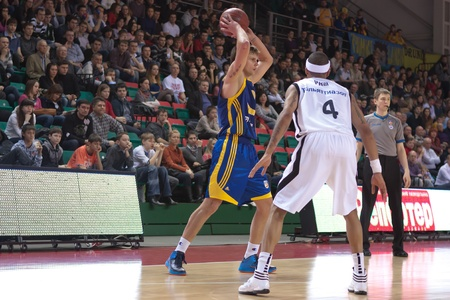 pbl: SAMARA, RUSSIA - APRIL 01: Vyaltsev Egor of BC Khimki, with ball, is on the attack during a BC Krasnye Krylia game on April 01, 2012 in Samara, Russia.