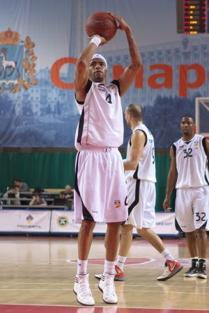 pbl: SAMARA, RUSSIA - APRIL 01: Brion Rush of BC Krasnye Krylia throw from the free throw line in a game against BC Khimki on April 01, 2012 in Samara, Russia.