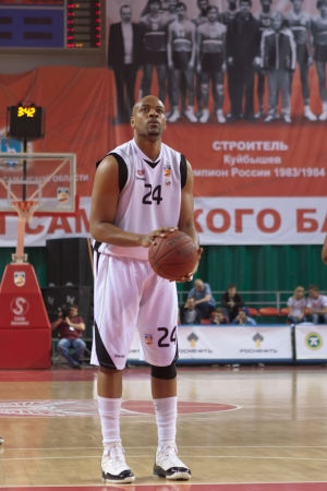 pbl: SAMARA, RUSSIA - APRIL 17: Hayes Jarvis James of BC Krasnye Krylia gets ready to throw from the free throw line in a game against BC UNICS on April 17, 2012 in Samara, Russia.