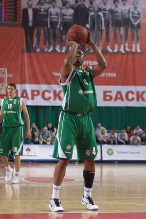 pbl: SAMARA, RUSSIA - APRIL 17: Lyday Terrell of BC UNICS throws from the free throw line in a game against BC Krasnye Krylia on April 17, 2012 in Samara, Russia. Editorial