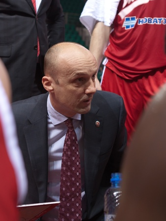 pbl: SAMARA, RUSSIA - MAY 03: Time out. Coach of BC Spartak Jurij Zdovc says the game plan against BC Krasnye Krylia on May 03, 2012 in Samara, Russia. Editorial